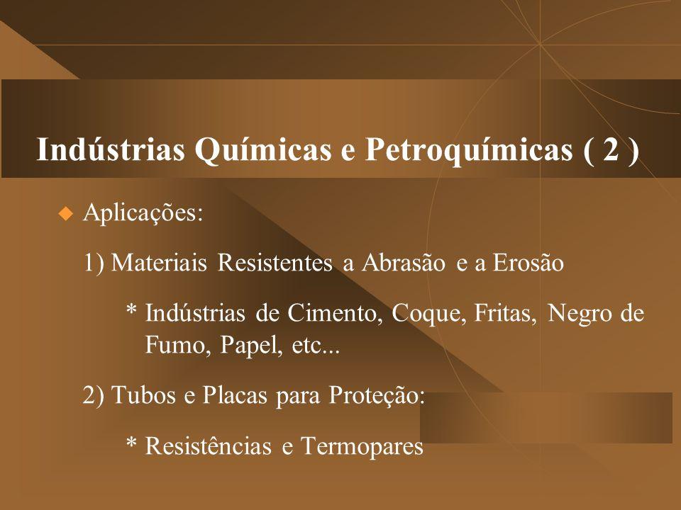 Indústrias Químicas e Petroquímicas ( 2 )  Aplicações: 1) Materiais Resistentes a Abrasão e a Erosão * Indústrias de Cimento, Coque, Fritas, Negro de Fumo, Papel, etc...