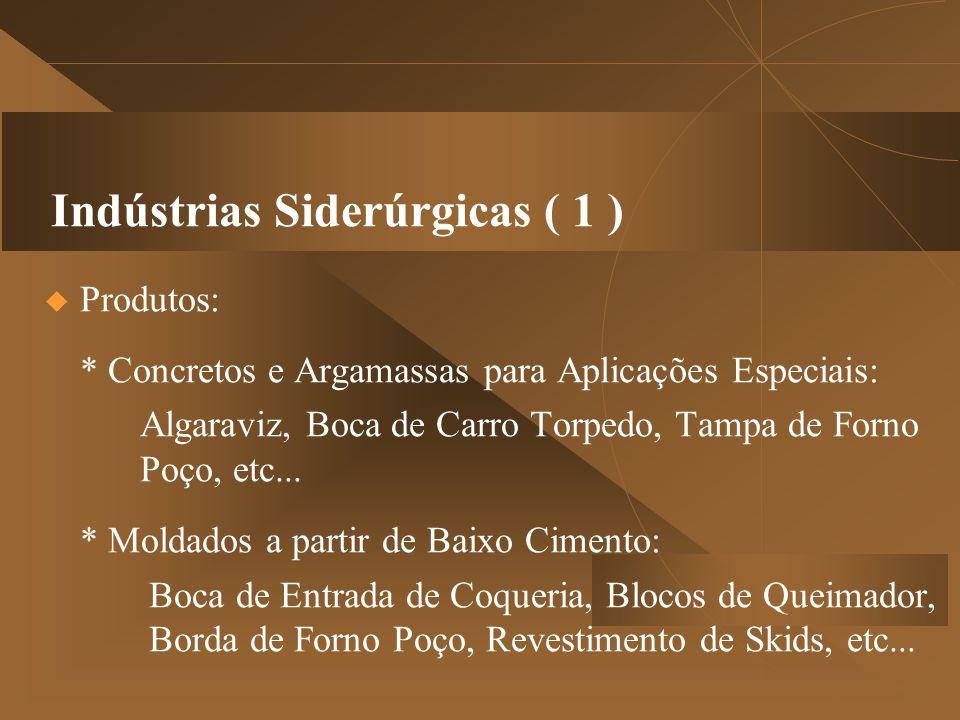 Indústrias Siderúrgicas ( 1 )  Produtos: * Concretos e Argamassas para Aplicações Especiais: Algaraviz, Boca de Carro Torpedo, Tampa de Forno Poço, etc...