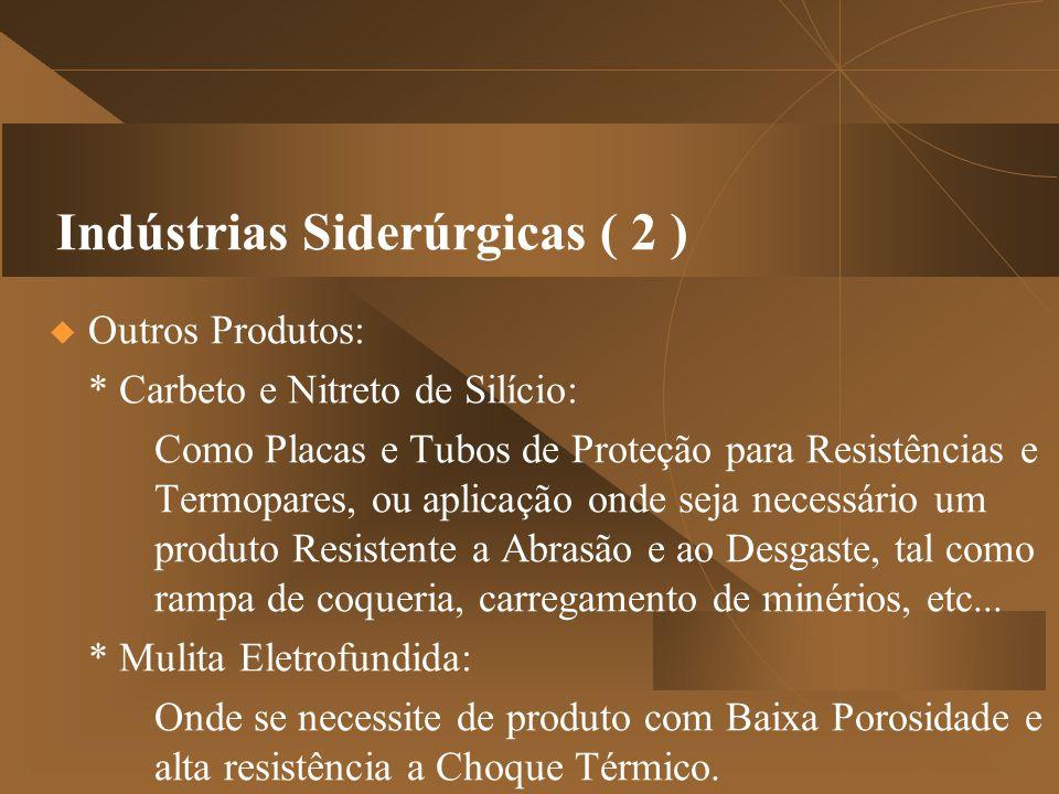 Indústrias Siderúrgicas ( 2 )  Outros Produtos: * Carbeto e Nitreto de Silício: Como Placas e Tubos de Proteção para Resistências e Termopares, ou a