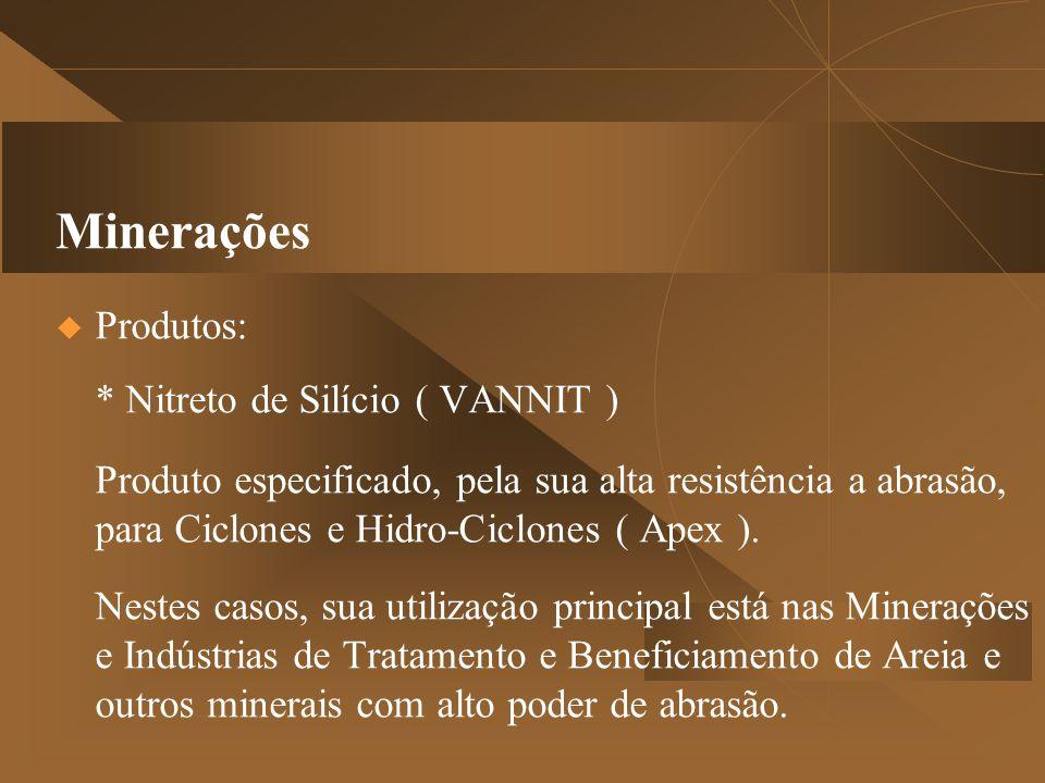 Minerações  Produtos: * Nitreto de Silício ( VANNIT ) Produto especificado, pela sua alta resistência a abrasão, para Ciclones e Hidro-Ciclones ( Apex ).