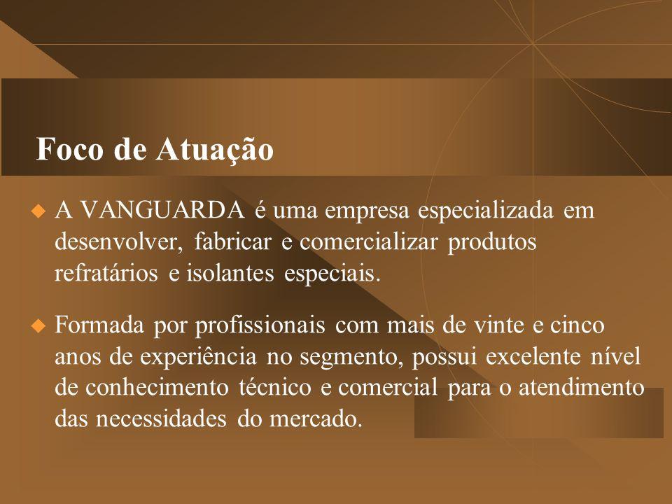 Foco de Atuação  A VANGUARDA é uma empresa especializada em desenvolver, fabricar e comercializar produtos refratários e isolantes especiais.  Forma