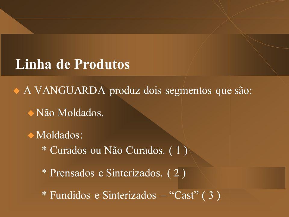 Linha de Produtos  A VANGUARDA produz dois segmentos que são:  Não Moldados.  Moldados: * Curados ou Não Curados. ( 1 ) * Prensados e Sinterizados