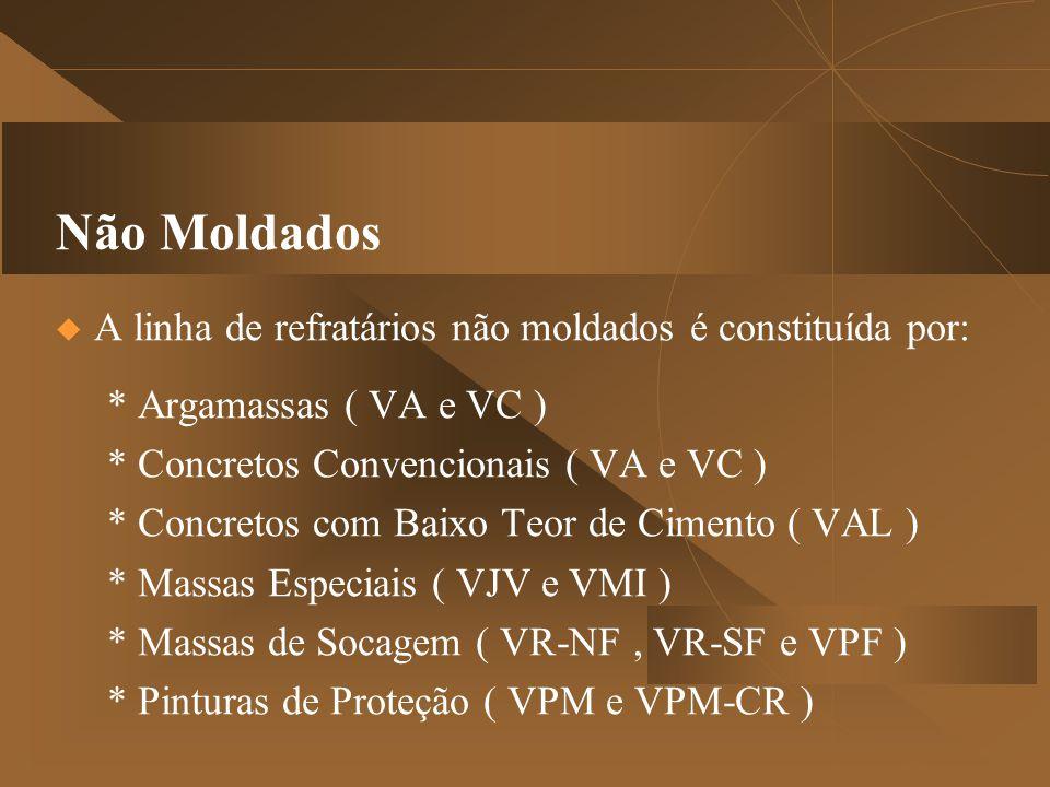 Não Moldados  A linha de refratários não moldados é constituída por: * Argamassas ( VA e VC ) * Concretos Convencionais ( VA e VC ) * Concretos com Baixo Teor de Cimento ( VAL ) * Massas Especiais ( VJV e VMI ) * Massas de Socagem ( VR-NF, VR-SF e VPF ) * Pinturas de Proteção ( VPM e VPM-CR )