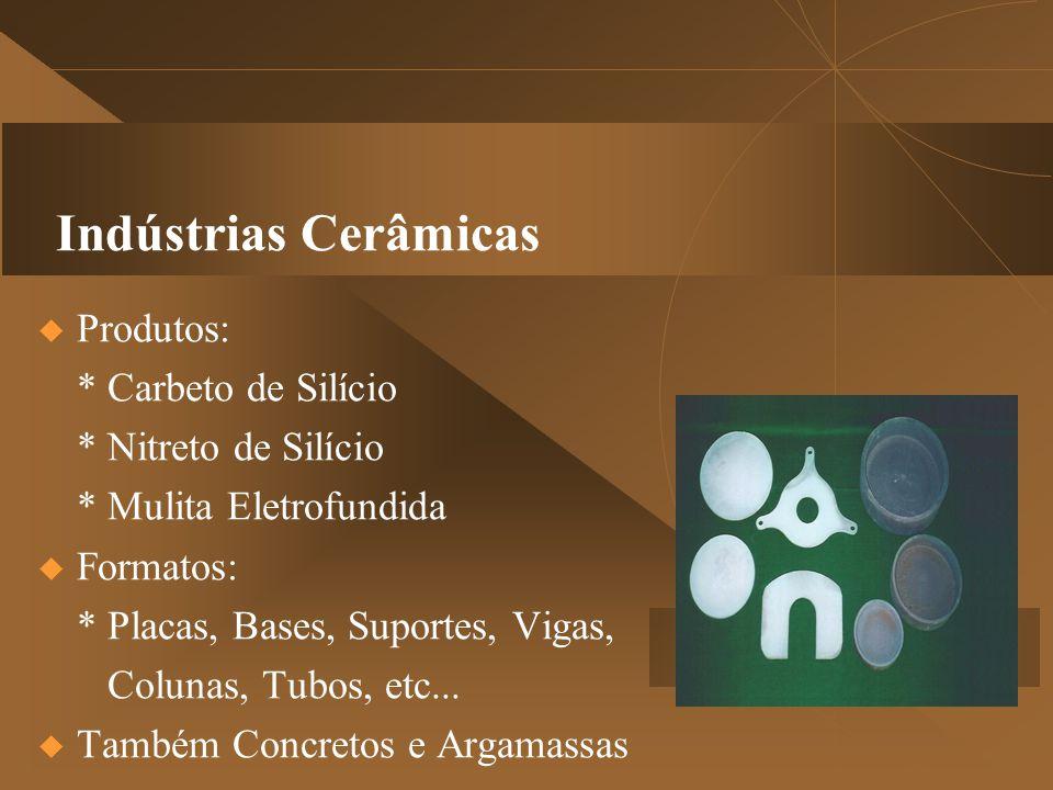 Indústrias Cerâmicas  Produtos: * Carbeto de Silício * Nitreto de Silício * Mulita Eletrofundida  Formatos: * Placas, Bases, Suportes, Vigas, Colunas, Tubos, etc...