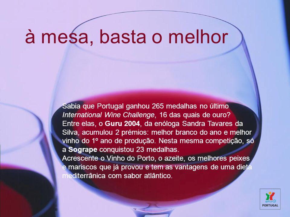 à mesa, basta o melhor Sabia que Portugal ganhou 265 medalhas no último International Wine Challenge, 16 das quais de ouro.