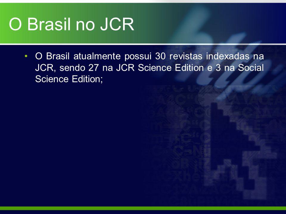 O Brasil no JCR O Brasil atualmente possui 30 revistas indexadas na JCR, sendo 27 na JCR Science Edition e 3 na Social Science Edition;