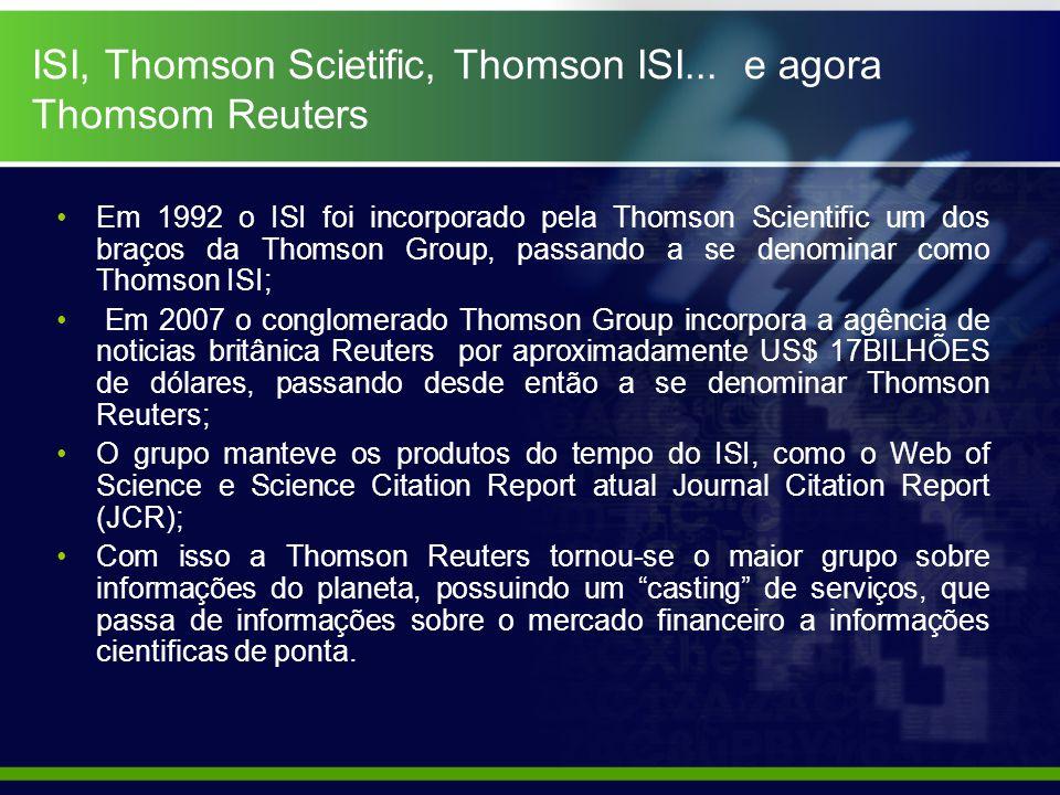 ISI, Thomson Scietific, Thomson ISI...