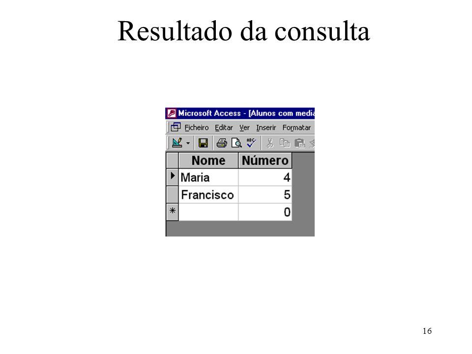 16 Resultado da consulta