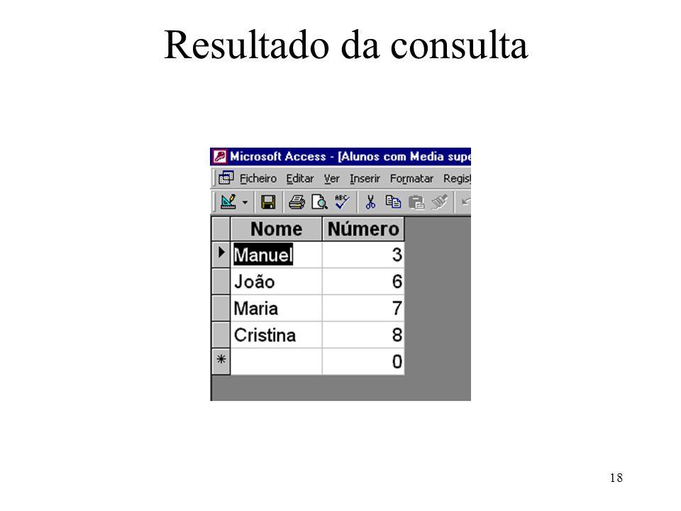 18 Resultado da consulta