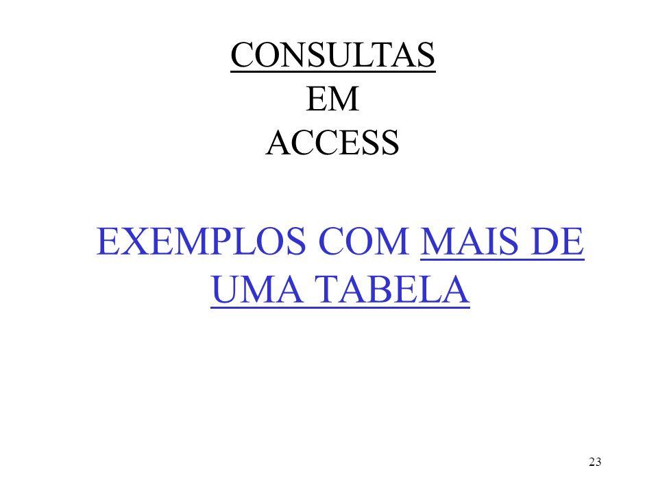 23 EXEMPLOS COM MAIS DE UMA TABELA CONSULTAS EM ACCESS