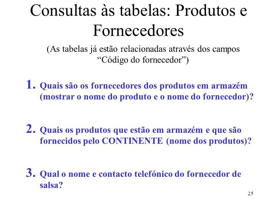 """25 Consultas às tabelas: Produtos e Fornecedores (As tabelas já estão relacionadas através dos campos """"Código do fornecedor"""") 1. Quais são os forneced"""