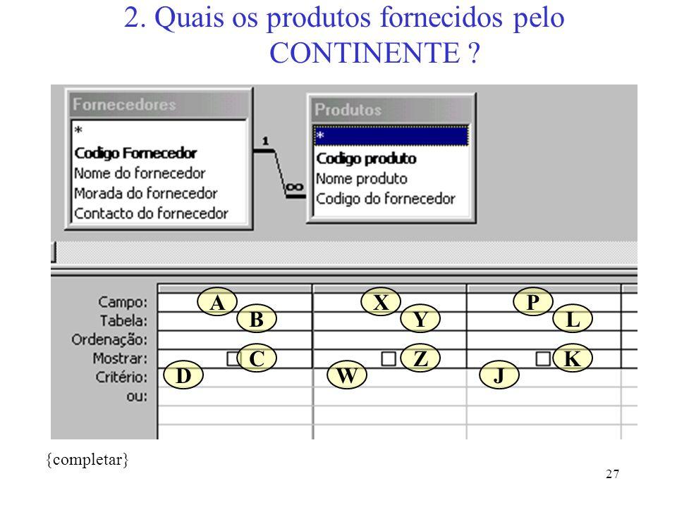 27 2. Quais os produtos fornecidos pelo CONTINENTE ? {completar} A B C D X Y Z W P L K J
