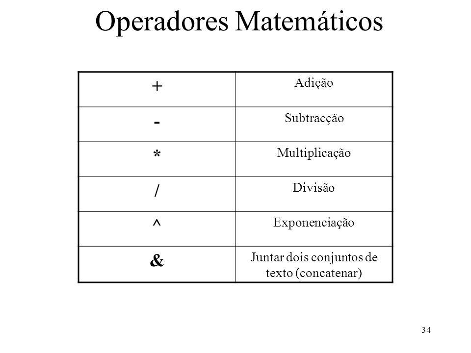 34 Operadores Matemáticos + Adição - Subtracção * Multiplicação / Divisão ^ Exponenciação & Juntar dois conjuntos de texto (concatenar)