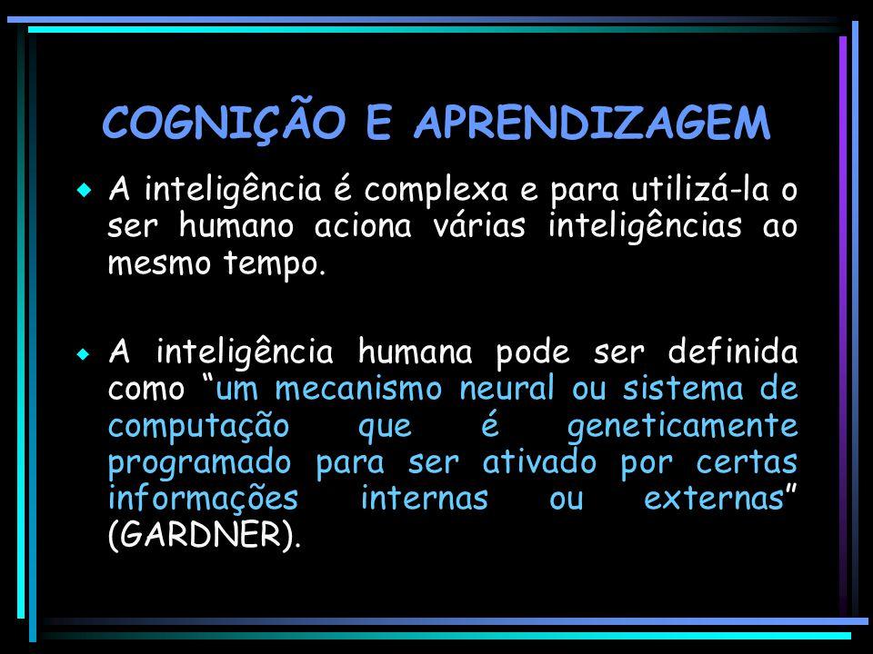 COGNIÇÃO E APRENDIZAGEM  A inteligência é complexa e para utilizá-la o ser humano aciona várias inteligências ao mesmo tempo.  A inteligência humana