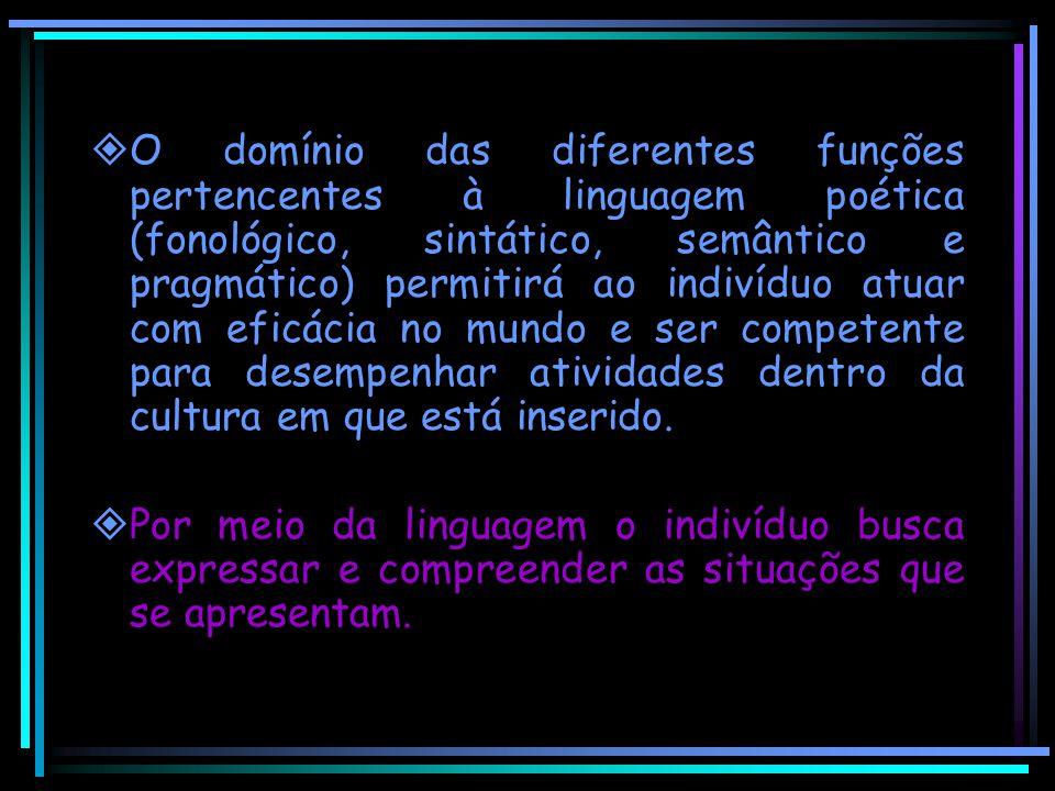  O domínio das diferentes funções pertencentes à linguagem poética (fonológico, sintático, semântico e pragmático) permitirá ao indivíduo atuar com e