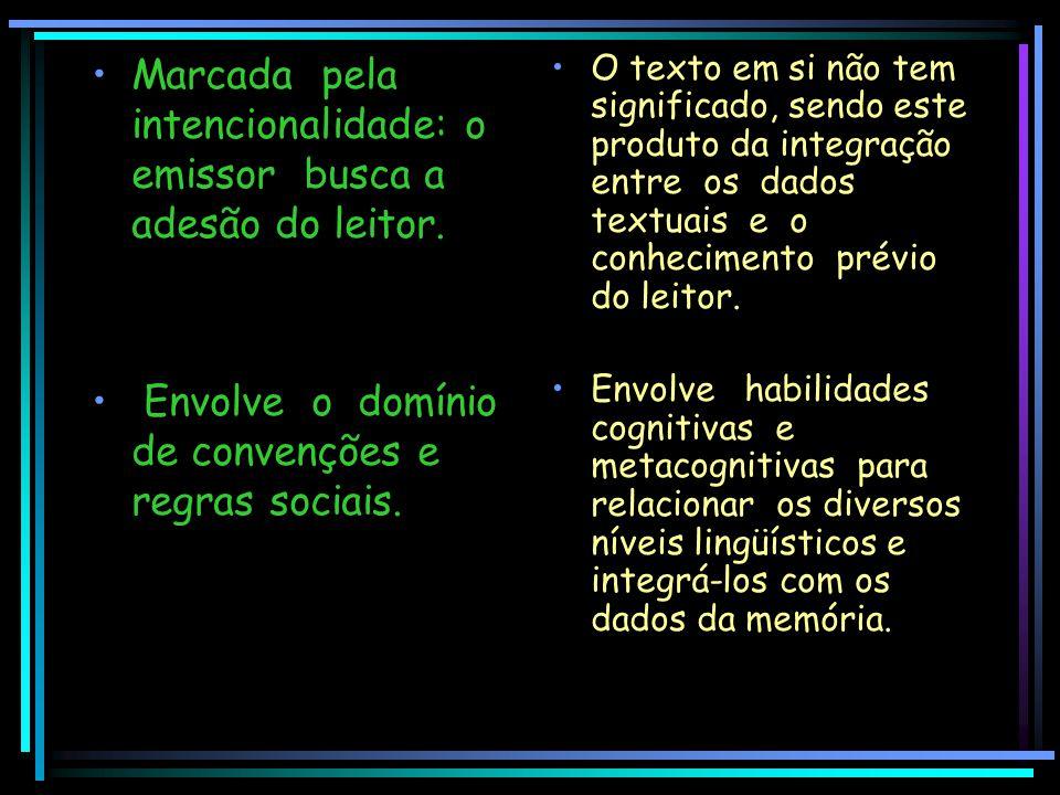 Marcada pela intencionalidade: o emissor busca a adesão do leitor. Envolve o domínio de convenções e regras sociais. O texto em si não tem significado