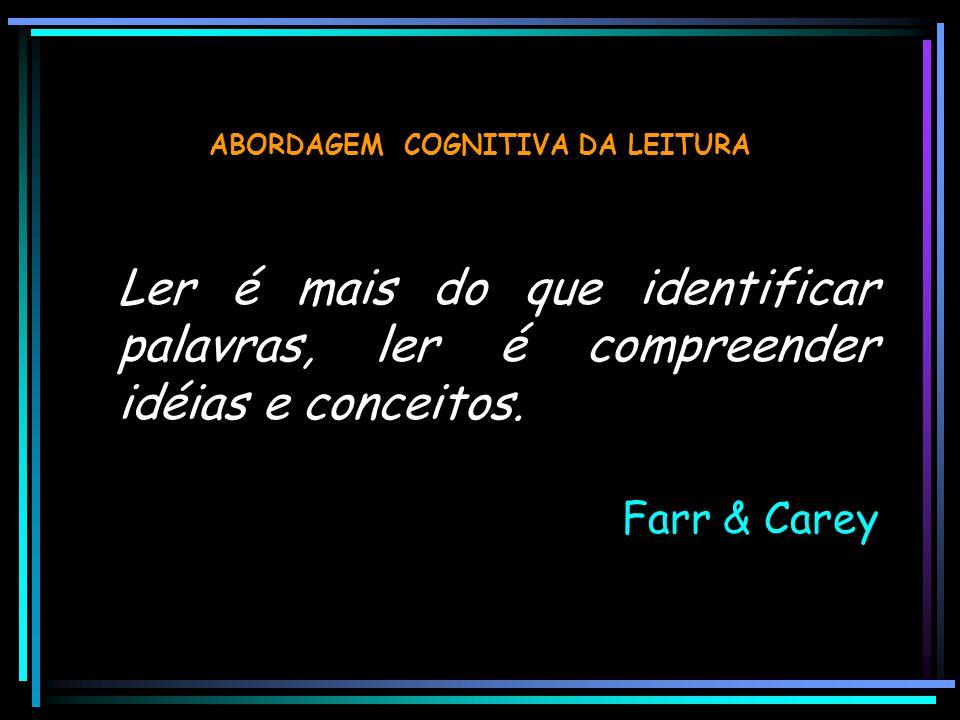ABORDAGEM COGNITIVA DA LEITURA Ler é mais do que identificar palavras, ler é compreender idéias e conceitos. Farr & Carey