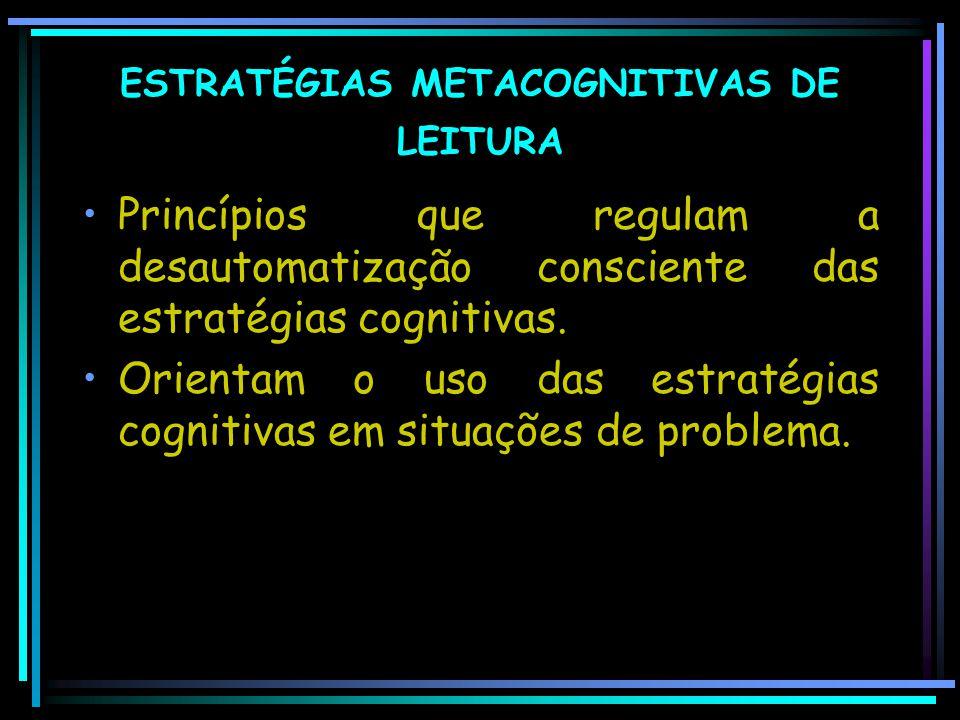 ESTRATÉGIAS METACOGNITIVAS DE LEITURA Princípios que regulam a desautomatização consciente das estratégias cognitivas. Orientam o uso das estratégias