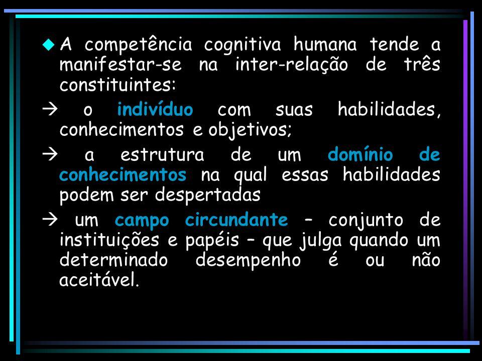  A competência cognitiva humana tende a manifestar-se na inter-relação de três constituintes:  o indivíduo com suas habilidades, conhecimentos e obj