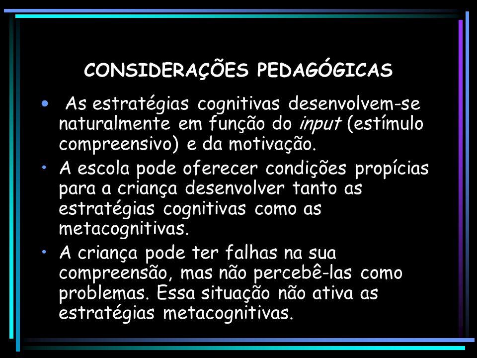 CONSIDERAÇÕES PEDAGÓGICAS As estratégias cognitivas desenvolvem-se naturalmente em função do input (estímulo compreensivo) e da motivação. A escola po