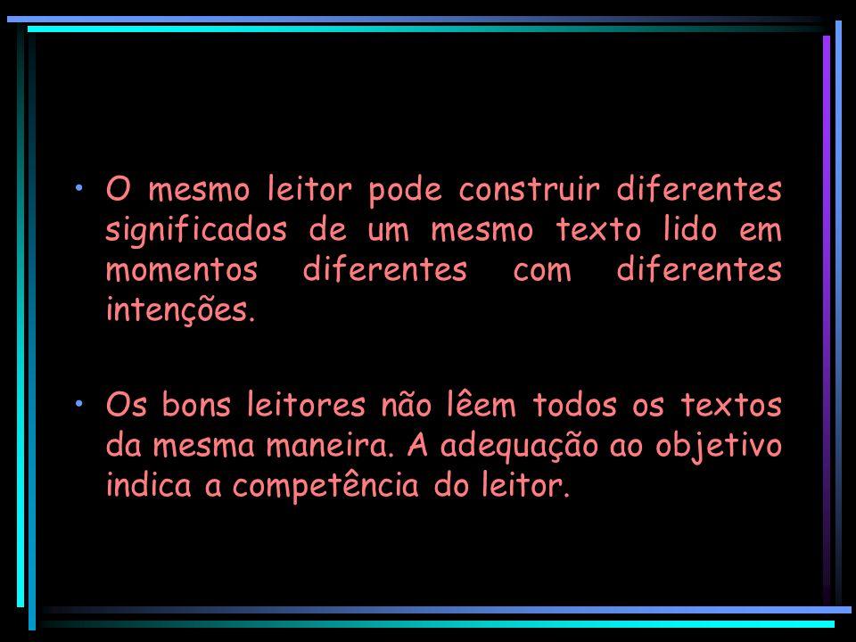 O mesmo leitor pode construir diferentes significados de um mesmo texto lido em momentos diferentes com diferentes intenções. Os bons leitores não lêe