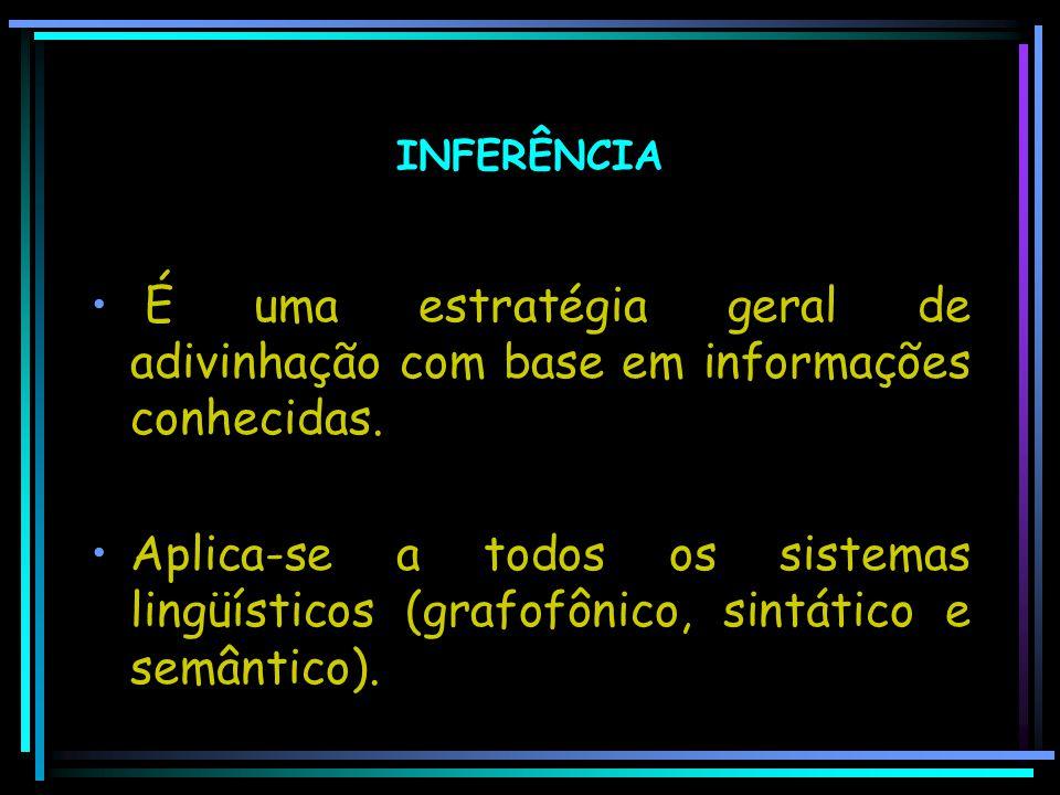 INFERÊNCIA É uma estratégia geral de adivinhação com base em informações conhecidas. Aplica-se a todos os sistemas lingüísticos (grafofônico, sintátic