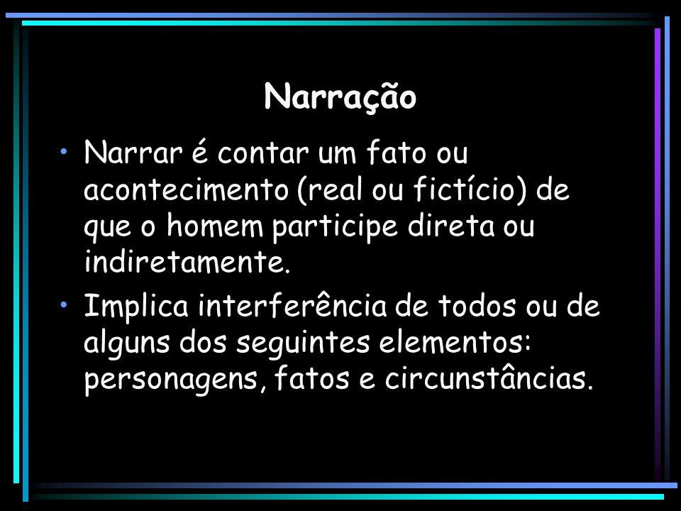 Narração Narrar é contar um fato ou acontecimento (real ou fictício) de que o homem participe direta ou indiretamente. Implica interferência de todos