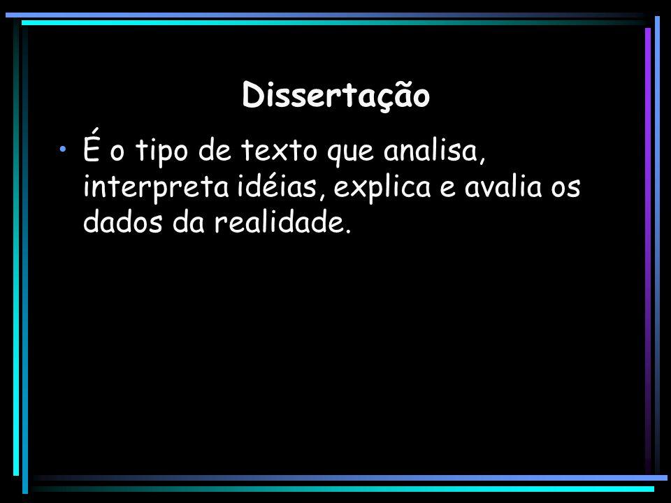 Dissertação É o tipo de texto que analisa, interpreta idéias, explica e avalia os dados da realidade.