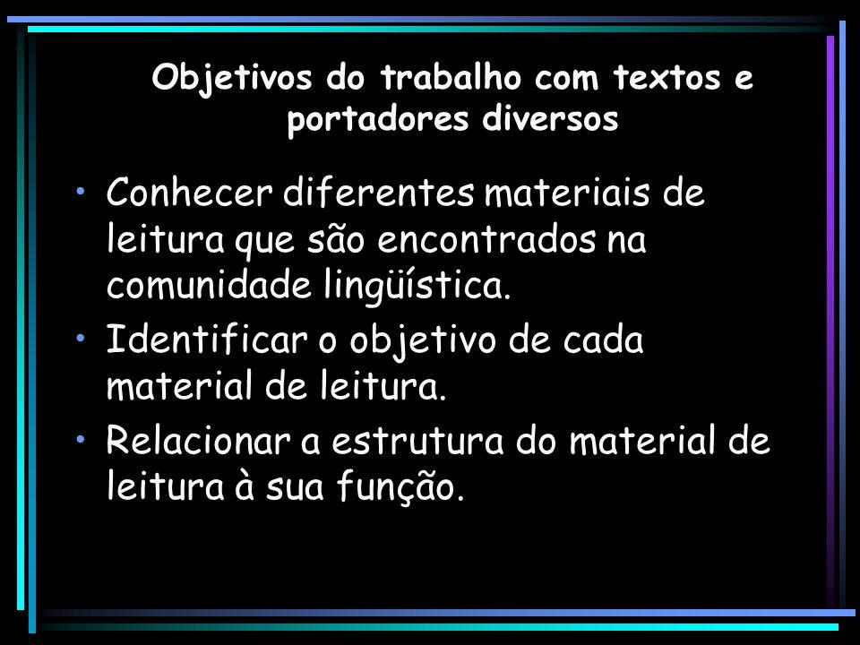 Objetivos do trabalho com textos e portadores diversos Conhecer diferentes materiais de leitura que são encontrados na comunidade lingüística. Identif
