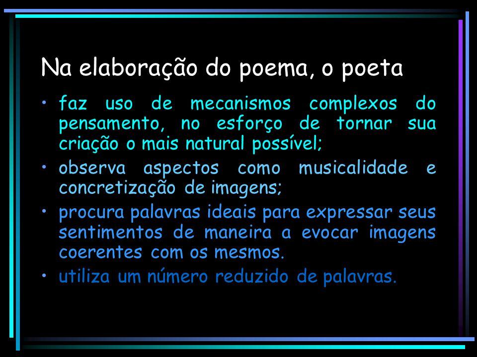 Na elaboração do poema, o poeta faz uso de mecanismos complexos do pensamento, no esforço de tornar sua criação o mais natural possível; observa aspec