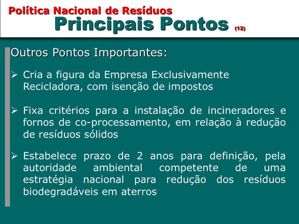 Principais Pontos (12) Outros Pontos Importantes:  Cria a figura da Empresa Exclusivamente Recicladora, com isenção de impostos  Fixa critérios para