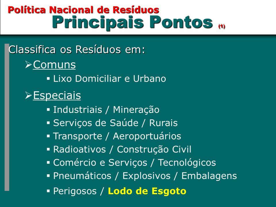 Principais Pontos (1) Classifica os Resíduos em:  Comuns  Lixo Domiciliar e Urbano  Especiais  Industriais / Mineração  Serviços de Saúde / Rurai