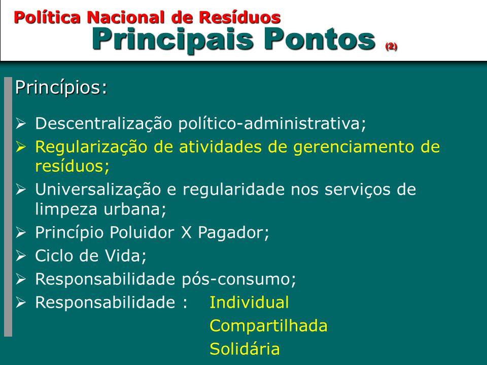 Principais Pontos (2) Princípios:  Descentralização político-administrativa;  Regularização de atividades de gerenciamento de resíduos;  Universali