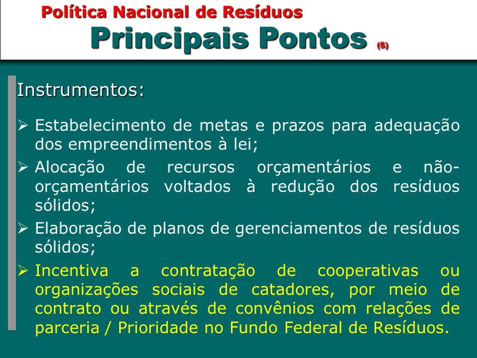 Política Nacional de Resíduos Instrumentos:  Estabelecimento de metas e prazos para adequação dos empreendimentos à lei;  Alocação de recursos orçam
