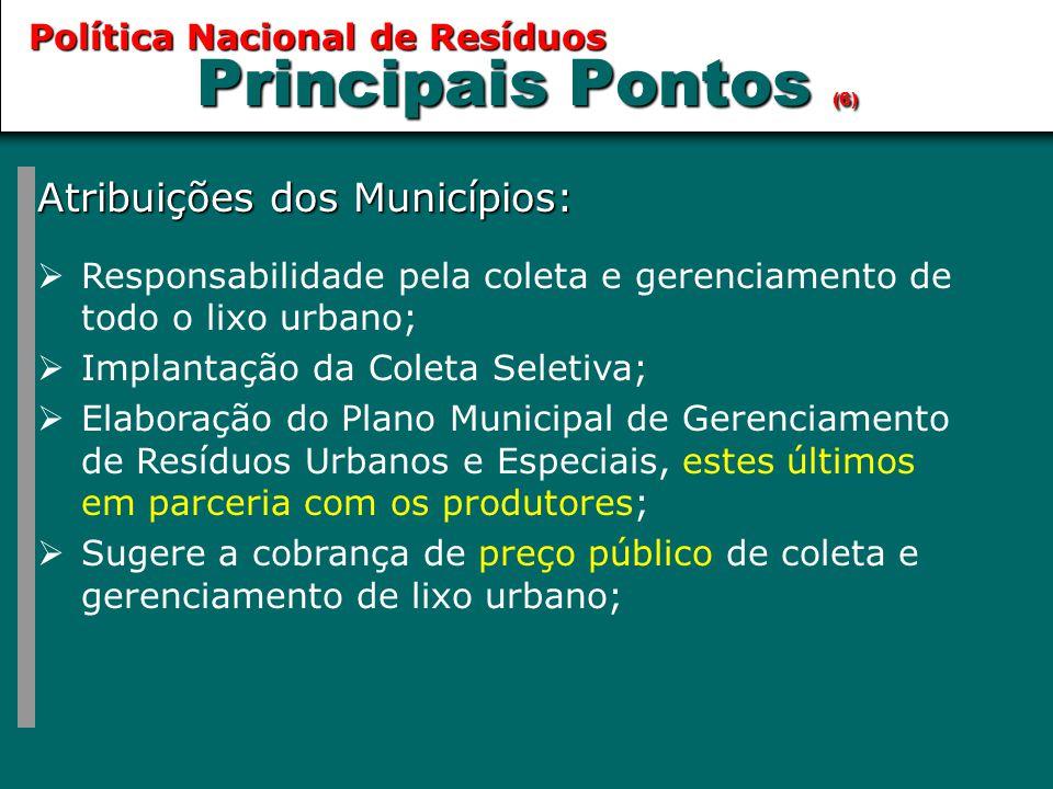 Principais Pontos (6) Atribuições dos Municípios:  Responsabilidade pela coleta e gerenciamento de todo o lixo urbano;  Implantação da Coleta Seleti