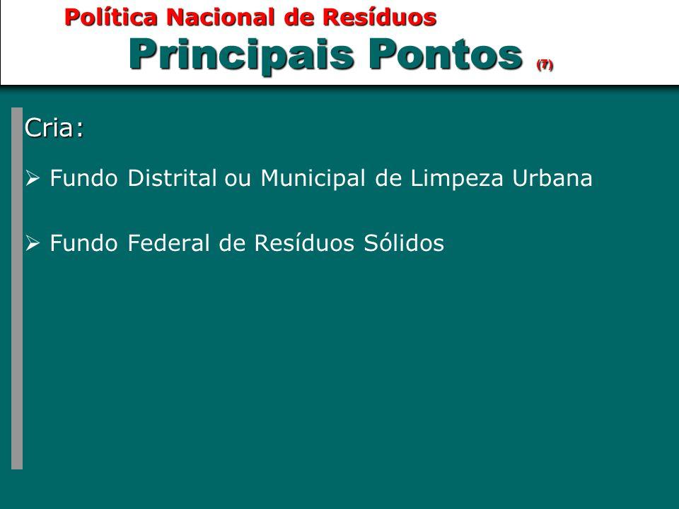 Cria:  Fundo Distrital ou Municipal de Limpeza Urbana  Fundo Federal de Resíduos Sólidos Principais Pontos (7)