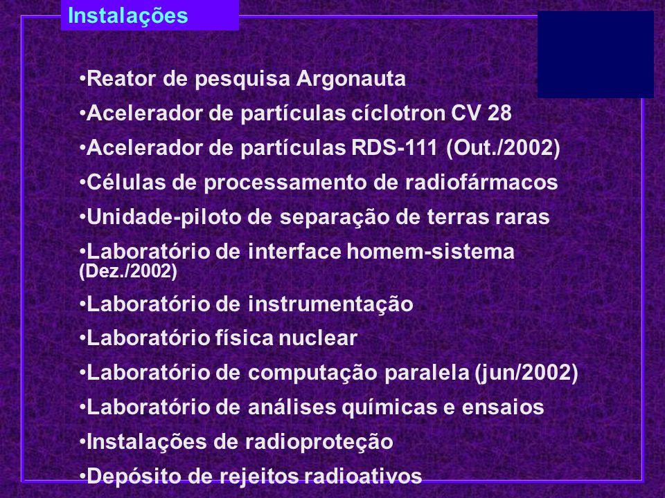 Instalações Reator de pesquisa Argonauta Acelerador de partículas cíclotron CV 28 Acelerador de partículas RDS-111 (Out./2002) Células de processament