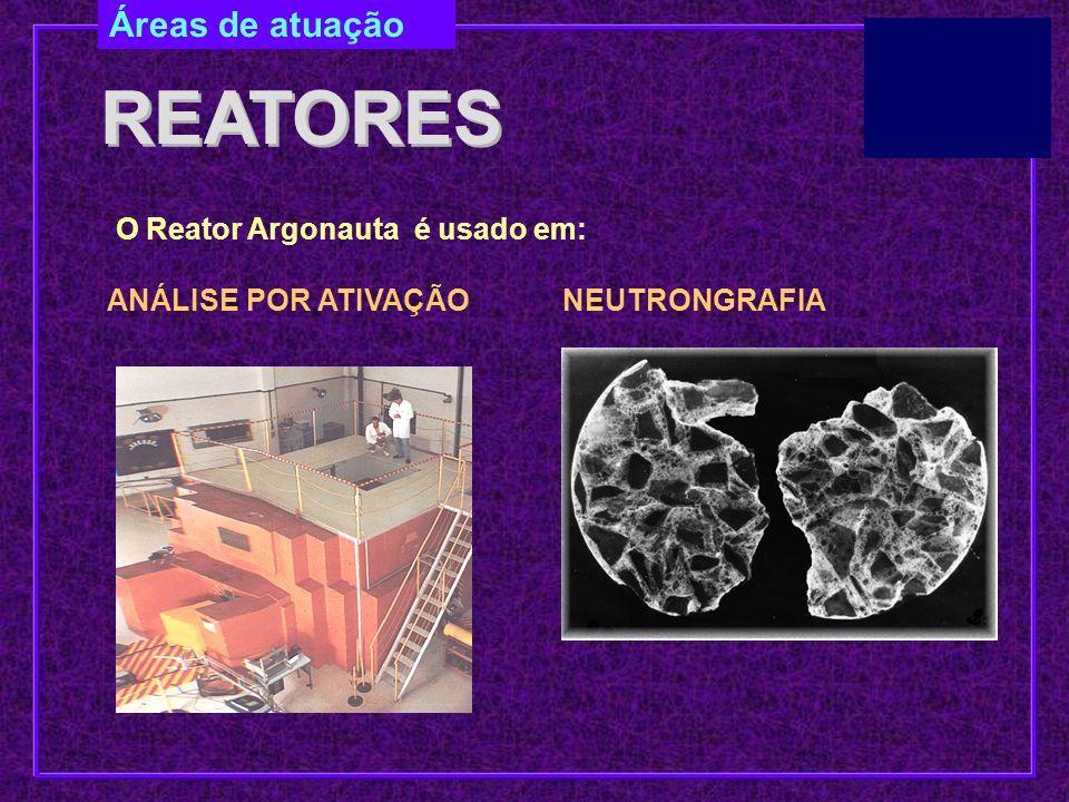 ANÁLISE POR ATIVAÇÃO Áreas de atuação REATORES O Reator Argonauta é usado em: NEUTRONGRAFIA