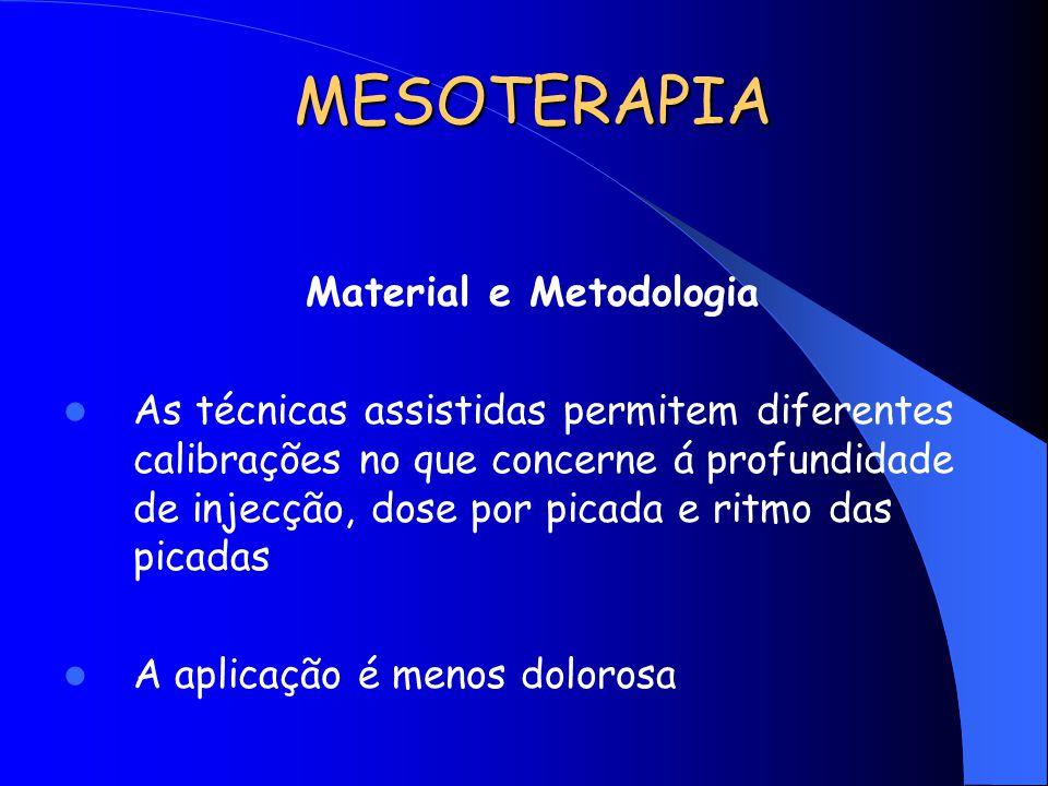 MESOTERAPIA Material e Metodologia As técnicas assistidas permitem diferentes calibrações no que concerne á profundidade de injecção, dose por picada