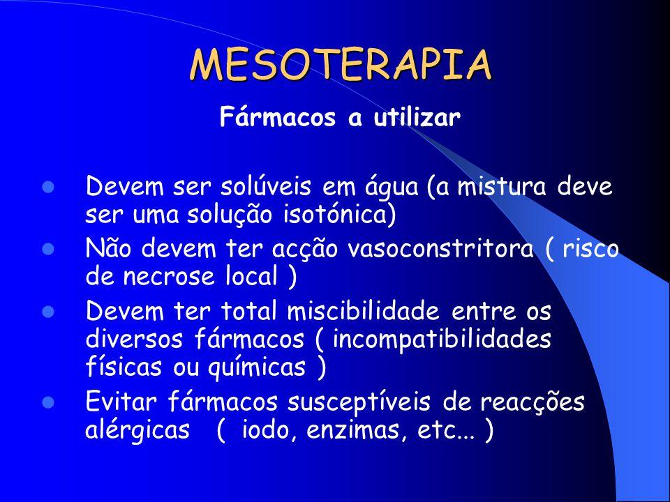 MESOTERAPIA Fármacos a utilizar Devem ser solúveis em água (a mistura deve ser uma solução isotónica) Não devem ter acção vasoconstritora ( risco de n