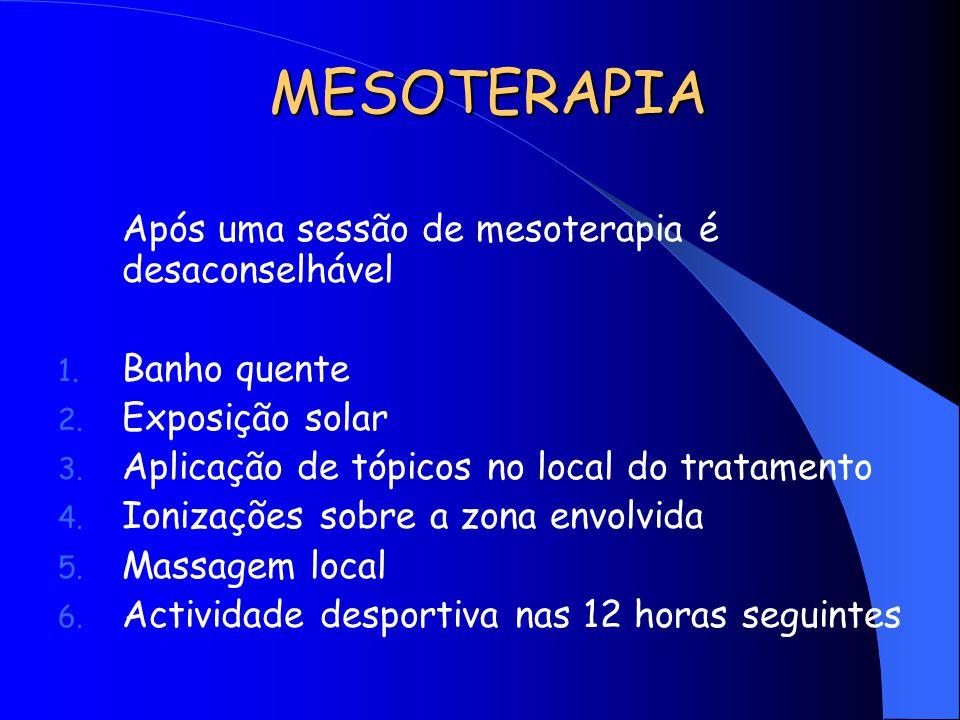 MESOTERAPIA Após uma sessão de mesoterapia é desaconselhável 1. Banho quente 2. Exposição solar 3. Aplicação de tópicos no local do tratamento 4. Ioni