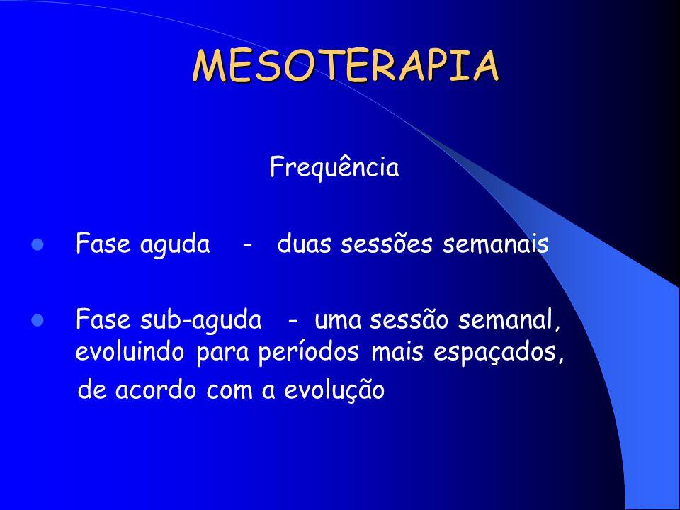 MESOTERAPIA Frequência Fase aguda - duas sessões semanais Fase sub-aguda - uma sessão semanal, evoluindo para períodos mais espaçados, de acordo com a