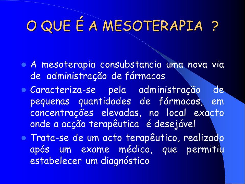MESOTERAPIA A via mesoterápica é uma nova via dotada de farmacodinâmica própria Caracterizada por uma maior biodisponibilidade dos fármacos administrados Com menor iatrogenia, permitindo uma diminuição das doses administradas e da sua frequência de administração