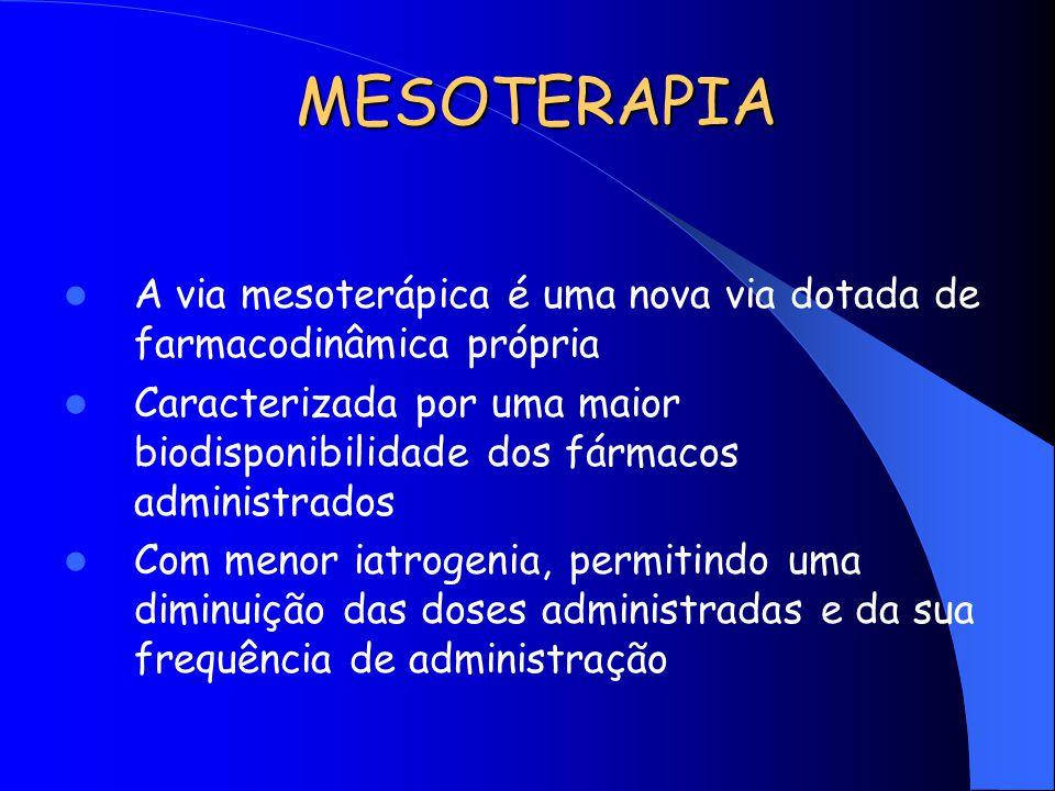MESOTERAPIA A via mesoterápica é uma nova via dotada de farmacodinâmica própria Caracterizada por uma maior biodisponibilidade dos fármacos administra