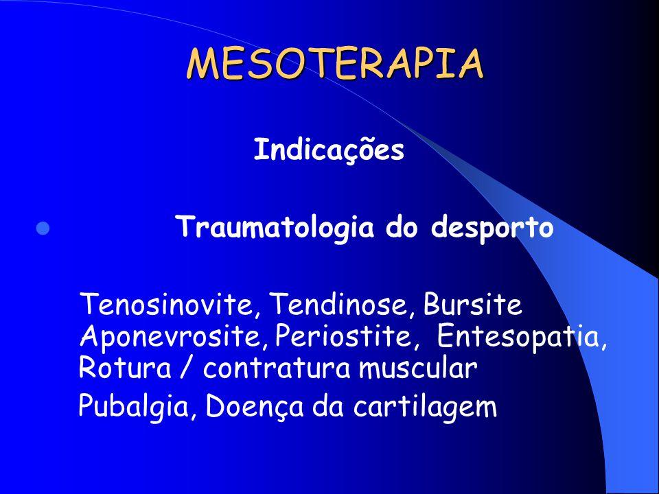 MESOTERAPIA Indicações Traumatologia do desporto Tenosinovite, Tendinose, Bursite Aponevrosite, Periostite, Entesopatia, Rotura / contratura muscular