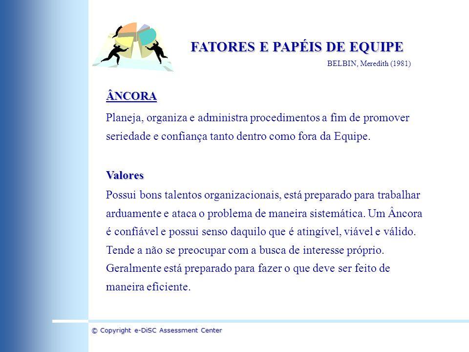 © Copyright e-DiSC Assessment Center FATORES E PAPÉIS DE EQUIPE BELBIN, Meredith (1981) ÂNCORA Planeja, organiza e administra procedimentos a fim de p