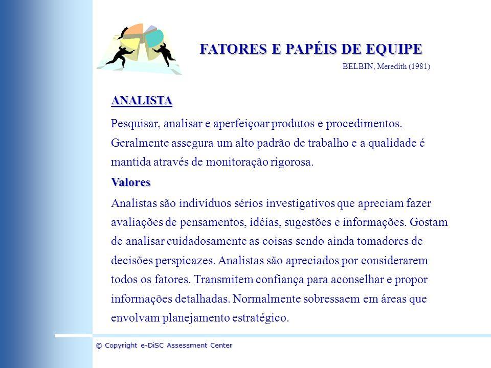 © Copyright e-DiSC Assessment Center FATORES E PAPÉIS DE EQUIPE BELBIN, Meredith (1981) ANALISTA Pesquisar, analisar e aperfeiçoar produtos e procedim