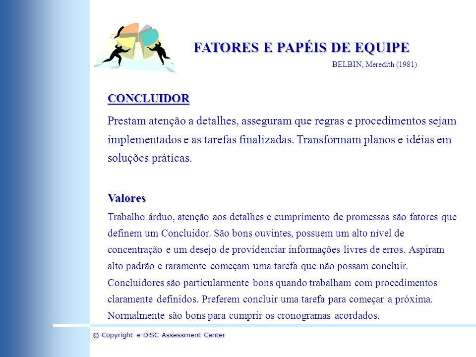 © Copyright e-DiSC Assessment Center FATORES E PAPÉIS DE EQUIPE BELBIN, Meredith (1981) CONCLUIDOR Prestam atenção a detalhes, asseguram que regras e