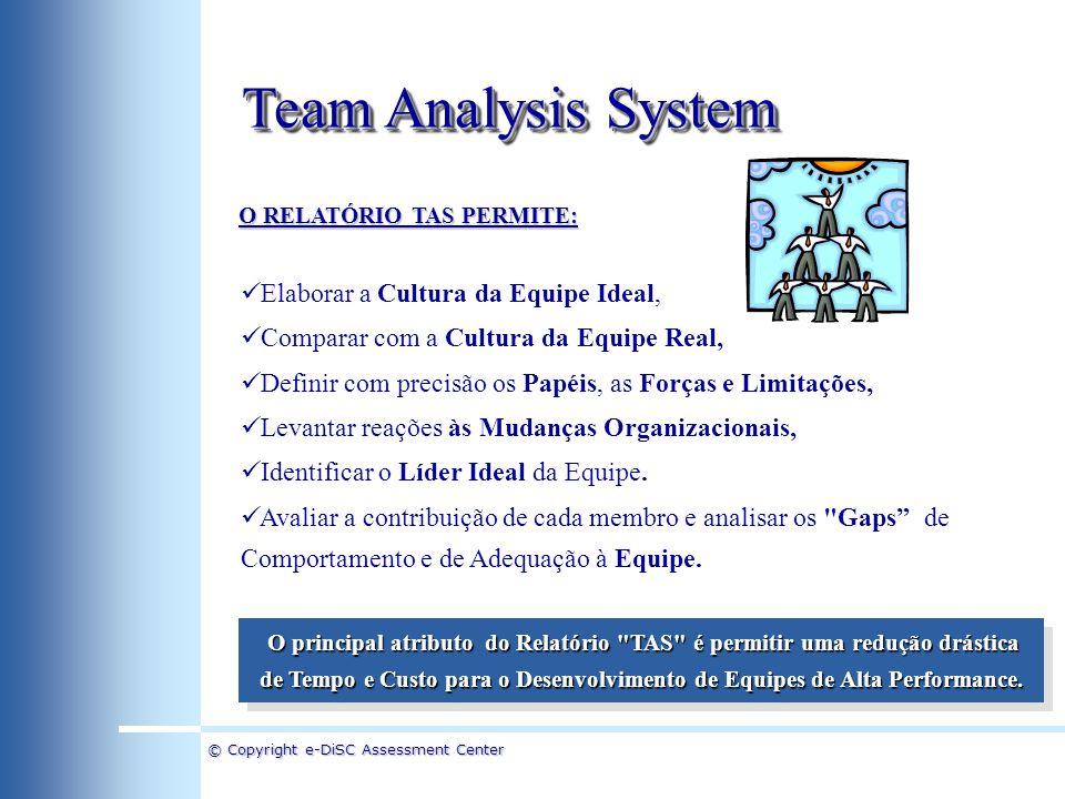 © Copyright e-DiSC Assessment Center Team Analysis System O Relatório TAS combina a Teoria de Fatores e Papéis de Equipe com a Teoria DISC, utilizada na Análise de Perfil Profissional.