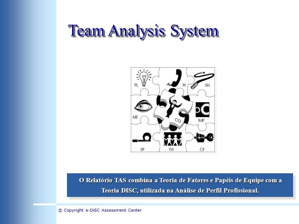 © Copyright e-DiSC Assessment Center Team Analysis System Equipes de Projeto A Teoria de Adequação de Fatores e Papéis foi originalmente desenvolvida para a Formação de Equipes de Projeto que freqüentemente trabalham sem um Líder em uma situação em que a Equipe como um todo necessita estar bem equilibrada.